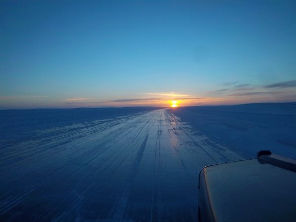 Ice Road Trucking e-book preview 13. Homeward bound into the sunset on MacKay Lake NWT, Canada.