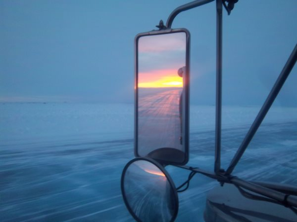 Ice Road Trucking e-book Preview 4. Burning sunset on the ice road.