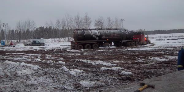 Frac Hauling, Getting stuck in snow and mud