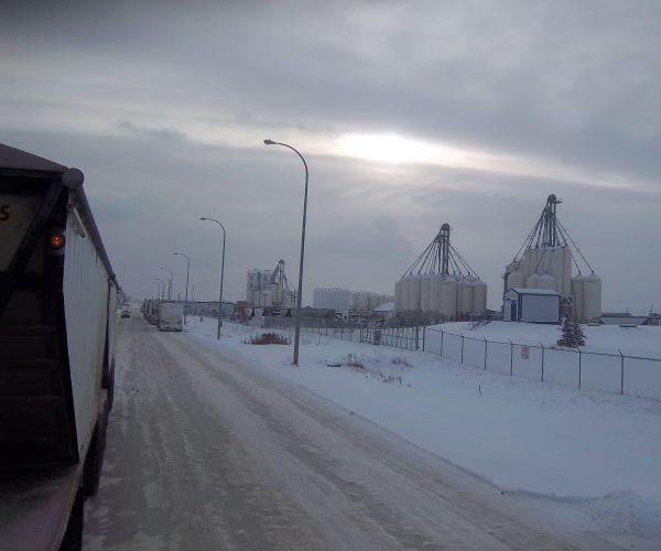 Frac hauling. Sandsource. Grande Prairie, Alberta