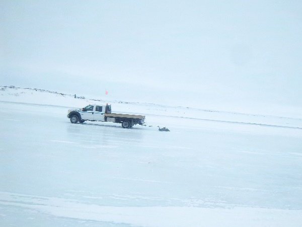 Ice thickness profiler is dragged across a frozen lake ensuring the proper thickness for truck safety.