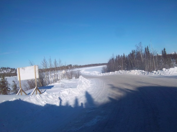 Ice road Trucking e-book preview 7. The view seen from Ingraham Trail turning off onto the start of the ice road.