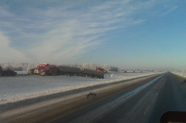 Oilfield Accidents. Hwy 43 a bad stretch of road in the winter.