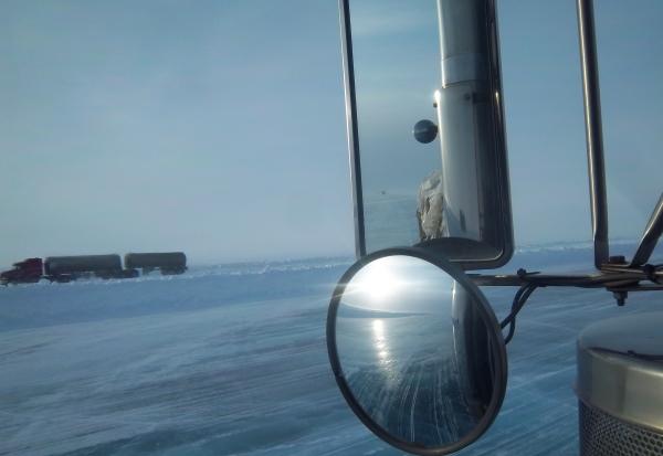 Ice Road Loads. Passing fuel hauler on McKay Lake