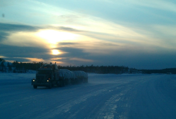Ice Road Loads. B-trains heading for snap lake.