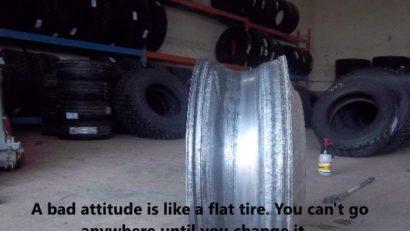 Truck driver attitude. Bad attitude like a flat tire