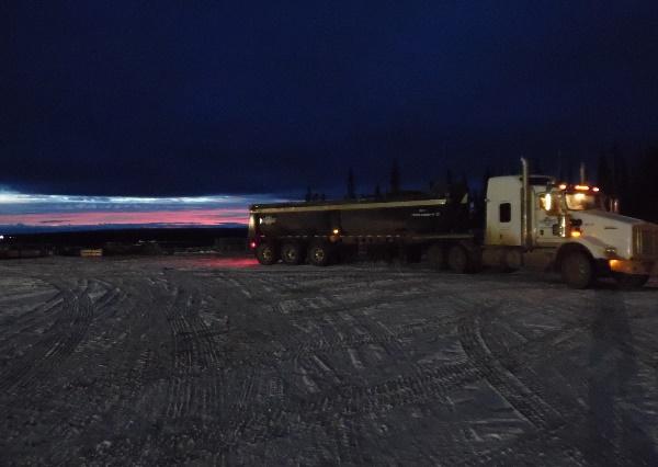 Oilfield Photos, Hauling drill cuttings near Grande Cache, Alberta