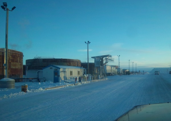 Ice Road Driving Photos, Fuel storage for the diamond mines