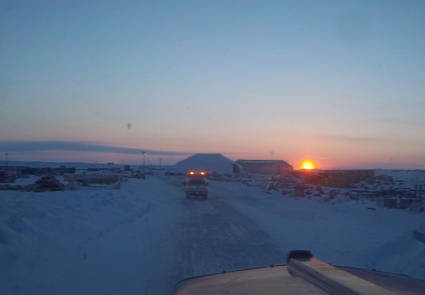 Ice Road Driving Photos. Leaving Debeers Snap lake mine at sunset