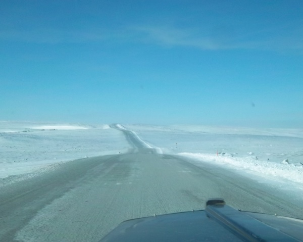 Ice Road Driving Photos. Misery road heading to Ekati diamond mine