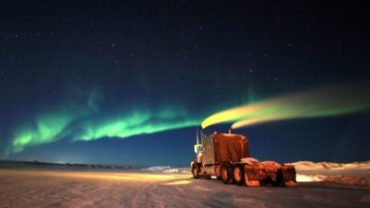 Ice Road Driving Photos. Northern lights, portage 49