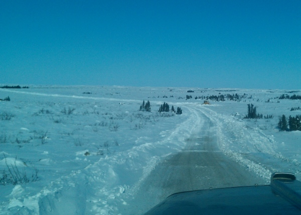 Ice Road Driving Photos. snap lake diamond mine spur road.