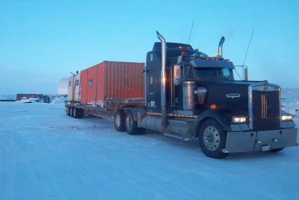 Ice Road Loads. Empty containers secured for the return trip to Yellowknife