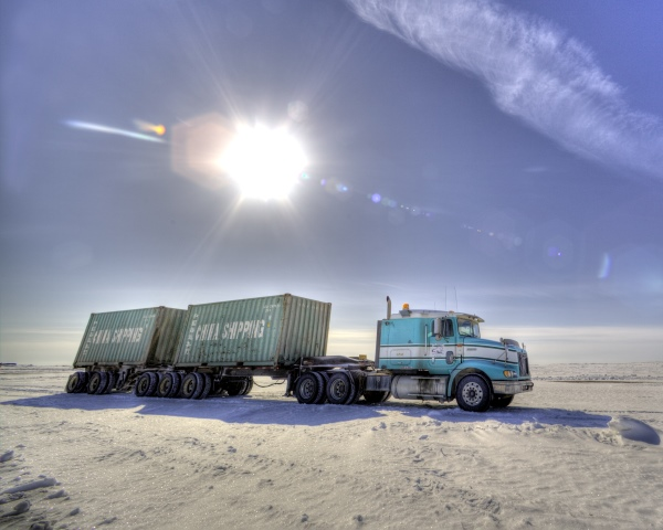Ice Road Loads. Containers destined for the mine
