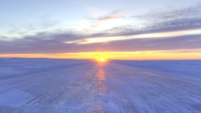 Ice Road Scenery. Beautiful sunsets