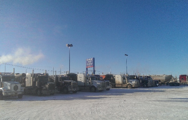 Oilfield Photos, Hotel Wal Mart for frac sand haulers