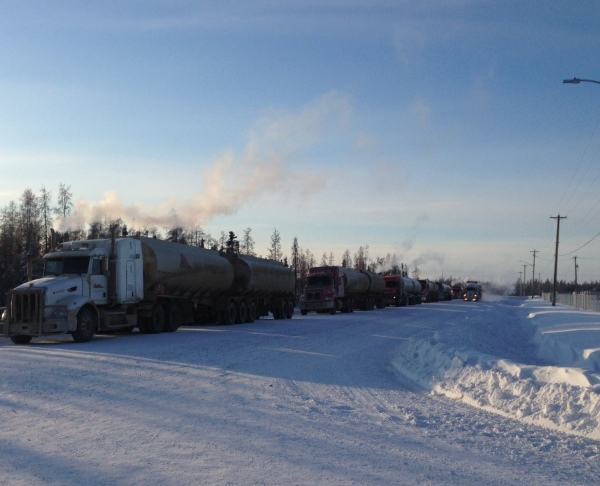 Ice Road Loads. Waiting to load fuel for the mines in Yellowknife