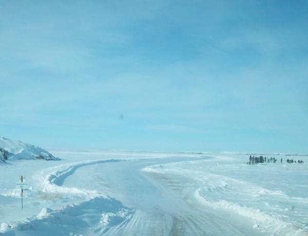 Tibbitt Contwoyto winter road. Heading south onto Warburton Bay Northwest Territories, Canada.