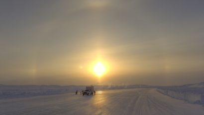 Tibbett Contwoyto Winter Road. Ice crews worked in extreme cold temperatures maintaining the ice.