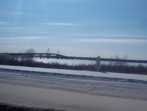 Tibbett Contwoyto Winter Road. the New bridge over the Mackenzie River on the way to Yellowknife.