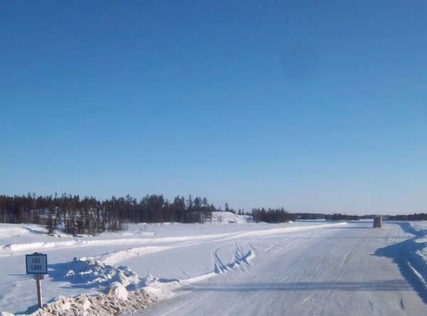 Tibbett Contwoyto Winter Road. Heading north onto Lee Lake.
