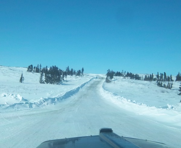 Tibbett Contwoyto Winter Road heading into Snap Lake spur road on the 1st portage.