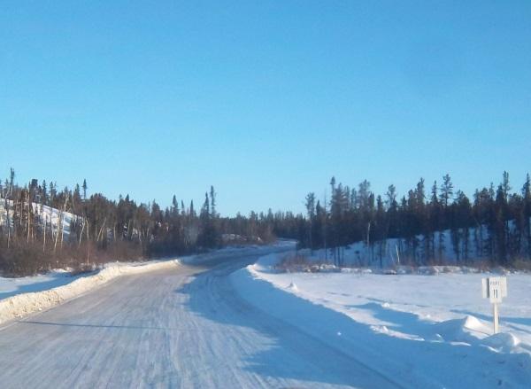 Tibbett Contwoyo Winter Road. Heading north at portage 11.