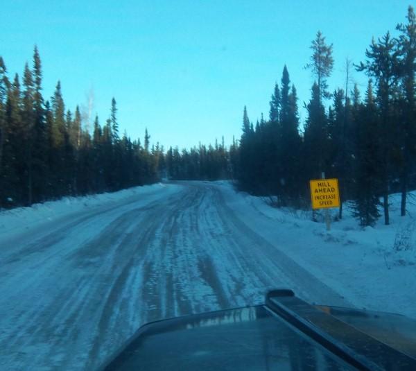 Tibbett Contwoyto Winter Road. Marked hazards through through the portages.