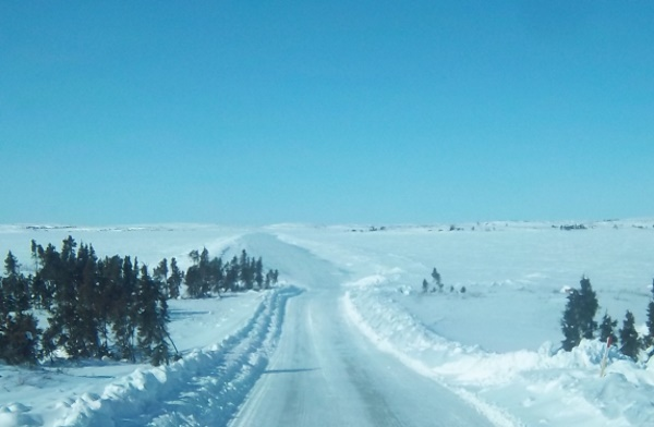 Tibbett Contwoyto Winter Road. Heading back onto the main ice road at portage 1 on the Snap Lake spur road.