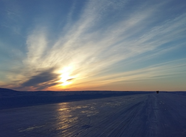 Sunrises, sunsets, sun dogs, Northern Lights and skies. The ice roads of Northern Canada produce some brilliant effects very few get to witness.